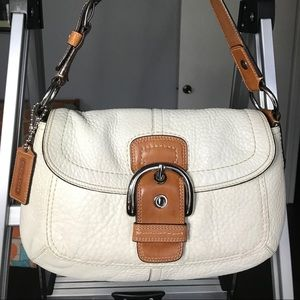 Coach White Lather Bag F13105 (Pre-owned)